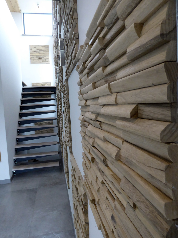 Mur 3d en bois massif recycl limba natura by claddywood - Parement mural bois adhesif ...